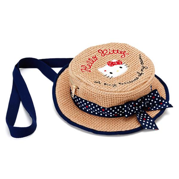 Hello Kitty肩背包 草帽造型編織後背包/肩背包/兩用包/2WAY包 [喜愛屋]