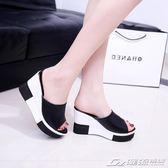 拖鞋女夏高跟外穿韓版坡跟涼拖鬆糕厚底防滑平底百搭休閒一字拖   潮流前線