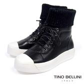 Tino Bellini皮革MIX毛線綁帶厚底休閒靴_ 黑 B69054