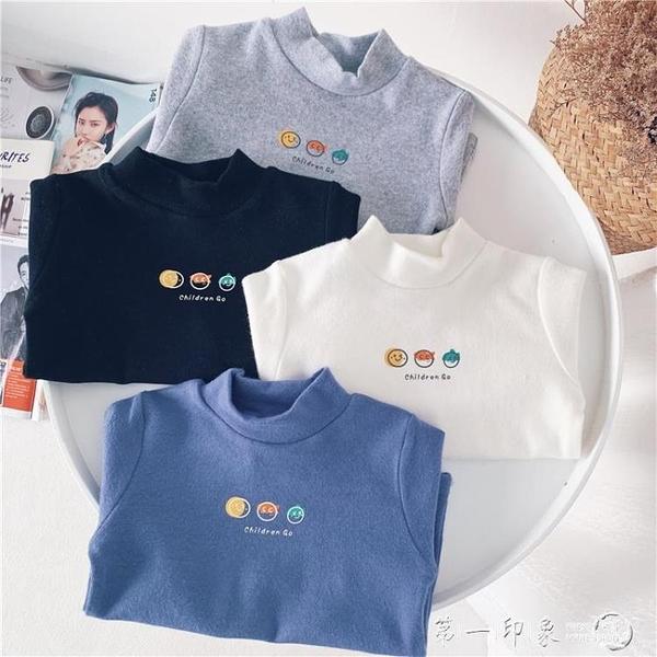 小杰家秋冬新款男童純色卡通打底衫寶寶長袖t恤兒童舒適內搭潮