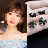 純銀耳釘女氣質韓國個性簡約精致水鉆小耳墜后掛式耳飾防過敏耳環  巴黎街頭