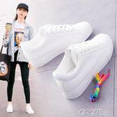 小白鞋  春季新款內增高小白鞋女百搭韓版學生基礎厚底休閒白鞋板鞋子    coco衣巷