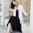 白色西裝外套女醋酸春秋季氣質薄款雪紡小西服加裙子職業套裝韓版 小艾新品