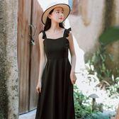 洋裝 連身裙 長洋裝2019夏季新款法國復古裙山本收腰仙女超仙甜美黑色吊帶連衣裙長裙
