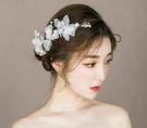 秒殺頭飾新娘頭飾新款森繫仙美花朵邊夾韓式公主簡約婚紗禮服結婚 交換禮物