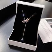 (快出)S925純銀蝴蝶結項鍊女個性簡約水晶流蘇吊墜網紅頸鍊鎖骨鍊