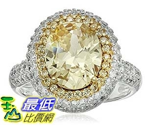 [美國直購] Rhodium and 18k Yellow Gold Plated Sterling Silver Oval Yellow Cubic Zirconia 11x9mm Size 7 戒指