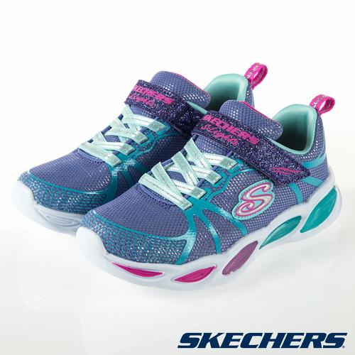 SKECHERS SHIMMER BEAMS 燈鞋 藍紫 魔鬼氈 中大童 NO.R5438