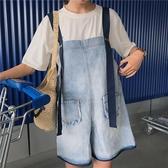 牛仔背帶短褲女2020夏新款韓版寬鬆學生百搭大碼胖mm連體吊帶褲潮