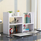簡約現代創意兒童桌上書架簡易組合桌面小書架置物架辦公書櫃學生雪青白色3(首圖款)
