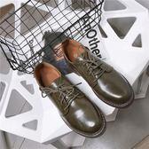 牛津鞋 平跟布小皮鞋女英倫復古圓頭女單鞋牛津鞋學院風女鞋【極有家】