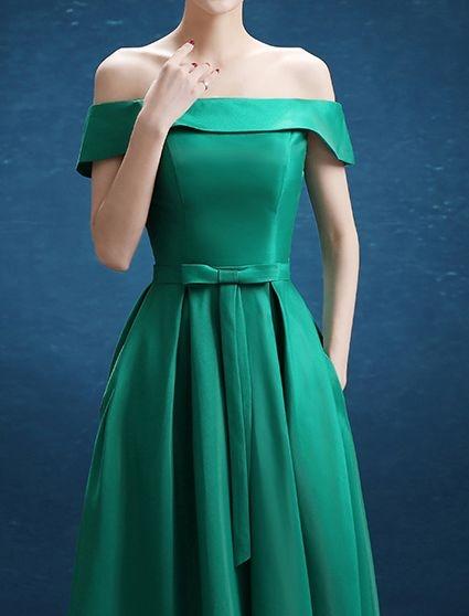 (45 Design創意禮服館) 現做 璀璨綠 一字短禮服 新娘結婚敬酒服前短後長綁帶婚紗禮服晚裝