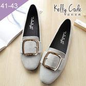 大尺碼女鞋-凱莉密碼-潮流時尚方頭方扣平底福樂鞋1cm(41-43)【ELN2-11】灰色