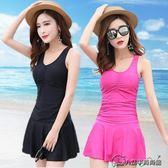推薦泳衣女連體裙式保守新款顯瘦性感遮肚裙式韓國平角褲小香風游泳衣(818來一發)