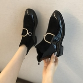 短靴 馬丁靴女春款新款韓版復古學生方頭中跟粗跟百搭短筒靴子 - 歐美韓熱銷