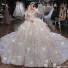 一字肩法式主婚紗禮服2021新款新娘小個子氣質星空拖尾高腰孕婦輕 喵小姐
