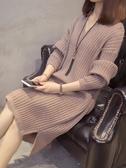 早秋冬寬松女套頭V領中長款毛衣裙過膝大碼針織連衣裙針織衫外穿