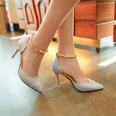 高跟鞋單鞋女串珠尖頭銀色女鞋細跟正韓百搭女鞋子