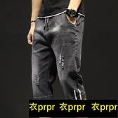牛仔短褲 夏季牛仔短褲男薄款破洞5五分褲