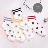 現貨✶正韓直送【K0208】韓國襪子滿版雙條紋中筒襪 韓妞必備 百搭基本款 素色襪 免運 阿華有事嗎