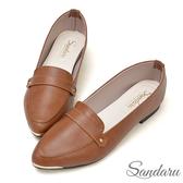 訂製鞋 真皮皮帶金屬飾尖頭鞋-山打努SANDARU【1453387】可可色下單區