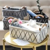 日式木柄提手毛氈收納雜物玩具衣物收納筐整理儲物箱儲物籃WY