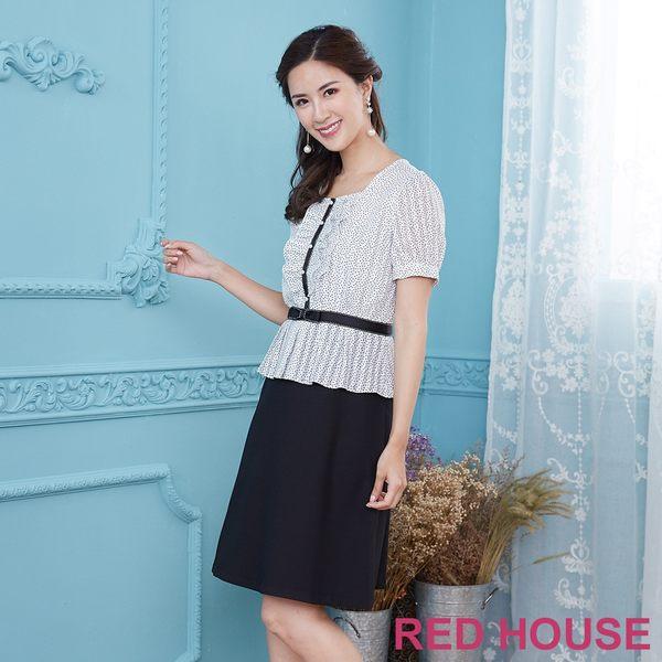 Red House 蕾赫斯-方領點點拼接洋裝(共2色)
