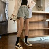牛仔褲女夏韓版百搭高腰顯瘦寬松闊腿褲短褲【小酒窩服飾】