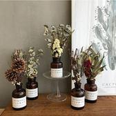 永生花滿天星帶花瓶干花花束家居擺件擺設