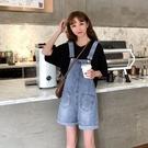 連體裙褲 牛仔背帶短褲女2021夏新款大碼寬鬆學生可愛日系顯瘦小個子連體裙褲 交換禮物