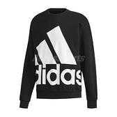 adidas 長袖T恤 Favorites Big Logo Sweatshirt 黑 白 男款 大學T 運動休閒 【ACS】 GK0617
