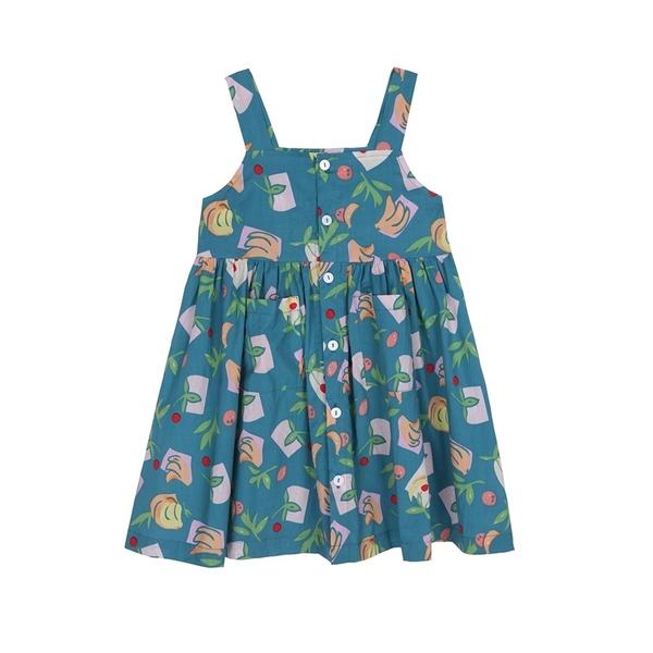 滿印平口排釦傘擺吊帶洋裝 吊帶裙 連身裙 裙子 女童 中童 現貨 童裝 橘魔法 童裝