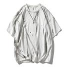 2021夏季歐美寬鬆短袖T恤 日系噴繪街頭潮牌體恤T恤 潮流嘻哈高街圓領T恤 男生五分袖T恤