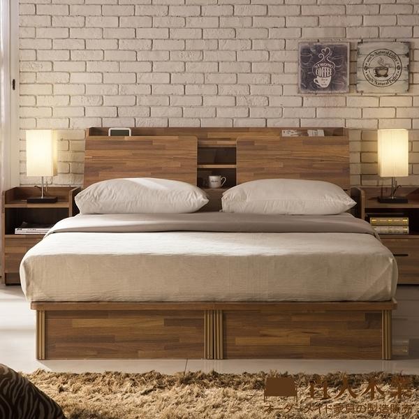 日本直人木業-INDUSTRY積層木5尺雙人抽屜床組(床底有2個收納抽屜)