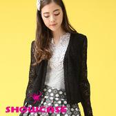 【SHOWCASE】壓褶領甜美蕾絲小外套(黑/白)