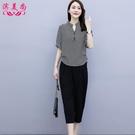 時尚格子棉麻套裝女2021夏季新款闊太太修身顯瘦短袖上衣 七分褲 設計師