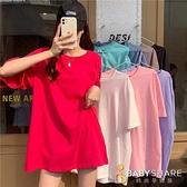 BabyShare時尚孕婦裝【NU9143】台灣出貨 加大T恤 5色 短袖 中大尺碼 孕婦裝