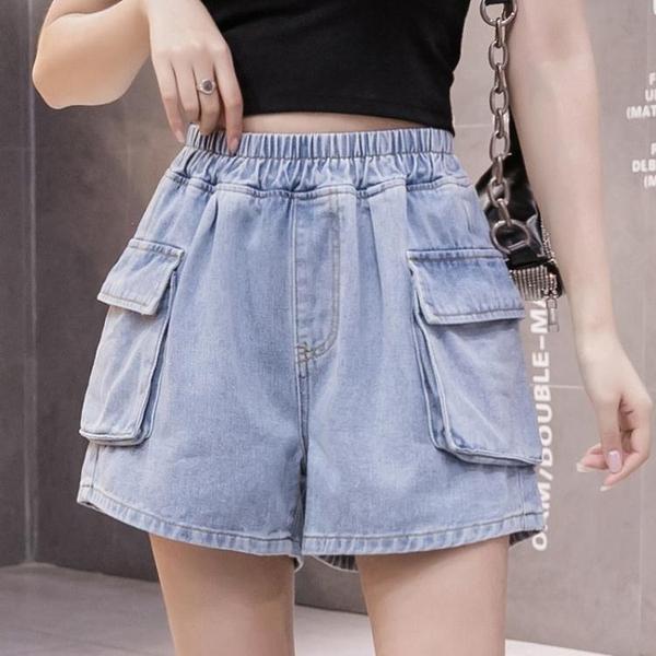 S-5XL胖妹妹牛仔單寧短款~牛仔短褲女高腰寬松大口袋大碼女裝200斤1F039愛尚布衣