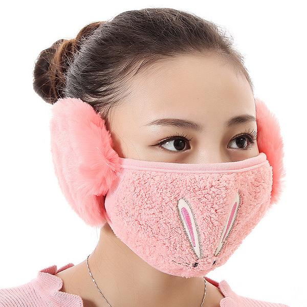 【獨愛3C用品】【買三送一】冬季必備保暖卡通造型兔兔絨毛防塵口罩耳罩二合一(編號13/西瓜紅)