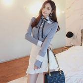 【GZ3E1】7653#新款韓版氣質條紋拼接蝴蝶結花邊領襯衫修身包臀短裙套裝女