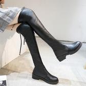 長靴女過膝瘦瘦靴秋季新品平底長筒靴子網紅百搭高筒春秋女鞋 快速出貨