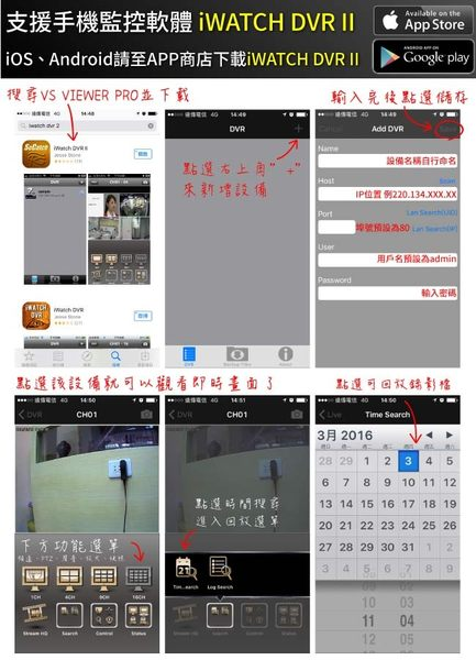 【CHICHIAU】4路AHD 1080P iCATCH數位監控錄影主機(含1080P 200萬畫素6陣列燈監視器攝影機x4)