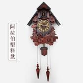 4KG歐式布谷鳥掛鐘智能音樂報時田園實木雕刻兒童創意客廳鐘表咕咕鐘QM 藍嵐