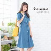 休閒洋裝--時尚舒適個性織帶抽繩修身排扣小翻領短袖牛仔洋裝(藍M-3L)-D508眼圈熊中大尺碼
