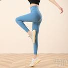 各昕裸感鯊魚皮打底褲女外穿高腰九分彈力小腳緊身瘦腿壓力瑜伽褲 快速出貨