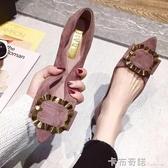 新款鞋子女韓版尖頭網紅單鞋淺口晚晚鞋百搭平底仙女溫柔  雙十一全館免運