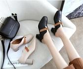 ins方頭單鞋女春季新款套腳懶人鞋粗跟英倫風工作鞋高跟鞋子