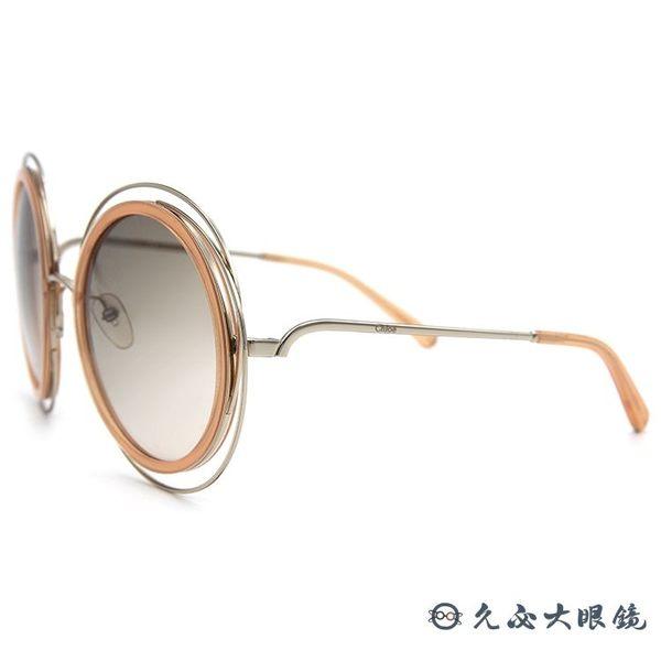 Chloe 墨鏡 CE120S 724 (淺金-透粉橘) 簍空金屬 復古大圓框 太陽眼鏡 久必大眼鏡