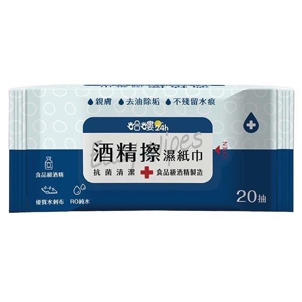 哈嘍24h 酒精擦濕紙巾20抽(48入)
