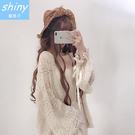 【V1948】shiny藍格子-日系甜心.小清新蕾絲燈籠綁帶袖開衫外套